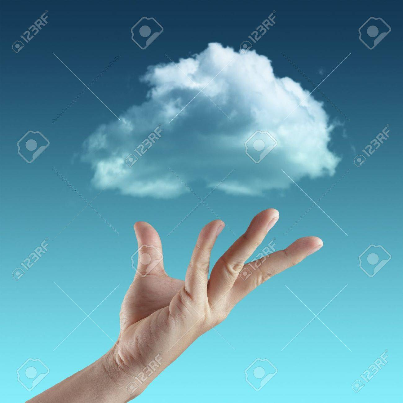 Cloud computing concept with copy space - 14774890