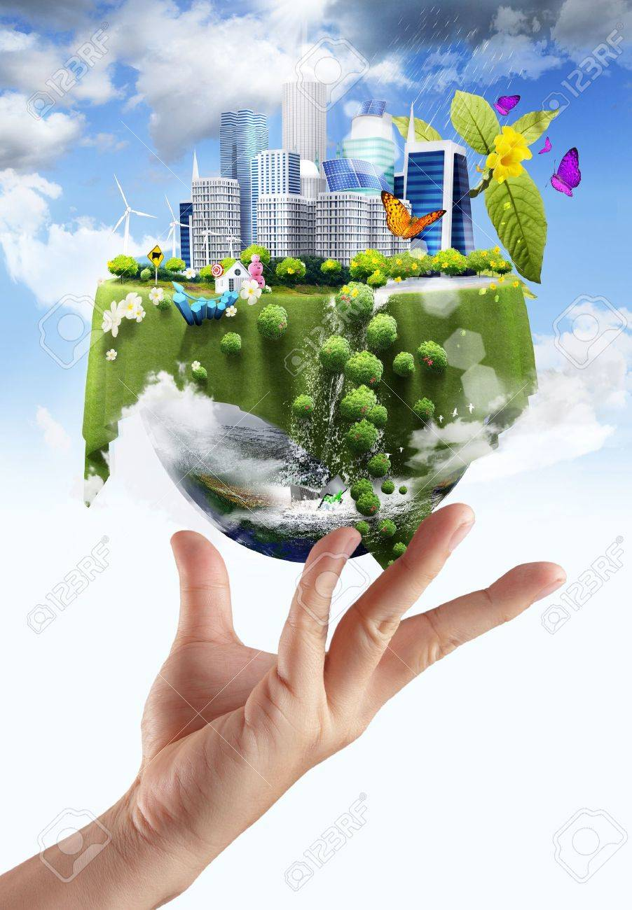 holding a glowing earth globe in his hands Stock Photo - 14765466