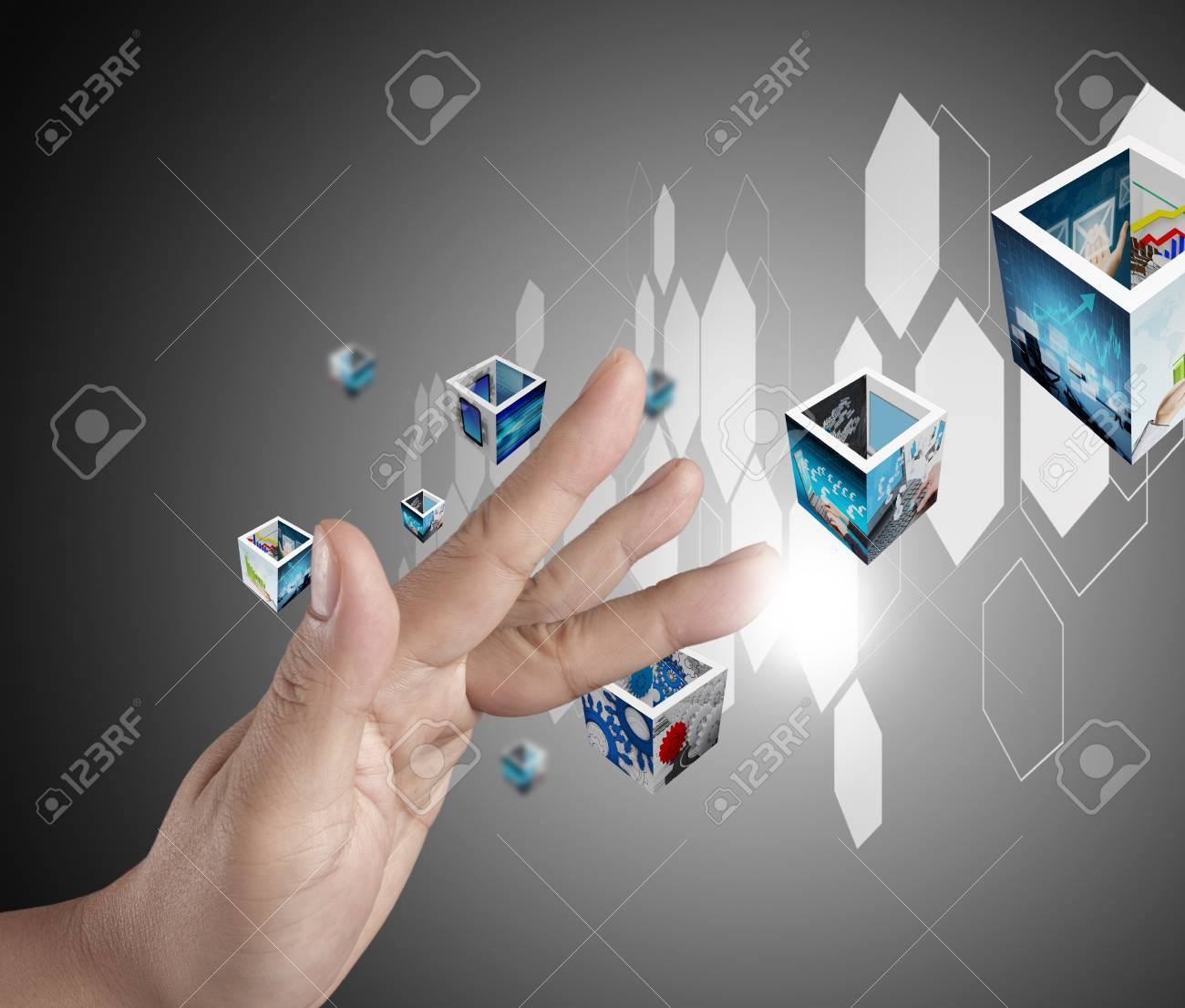 businessman hand pushing on a touch screen interface Stock Photo - 14774912