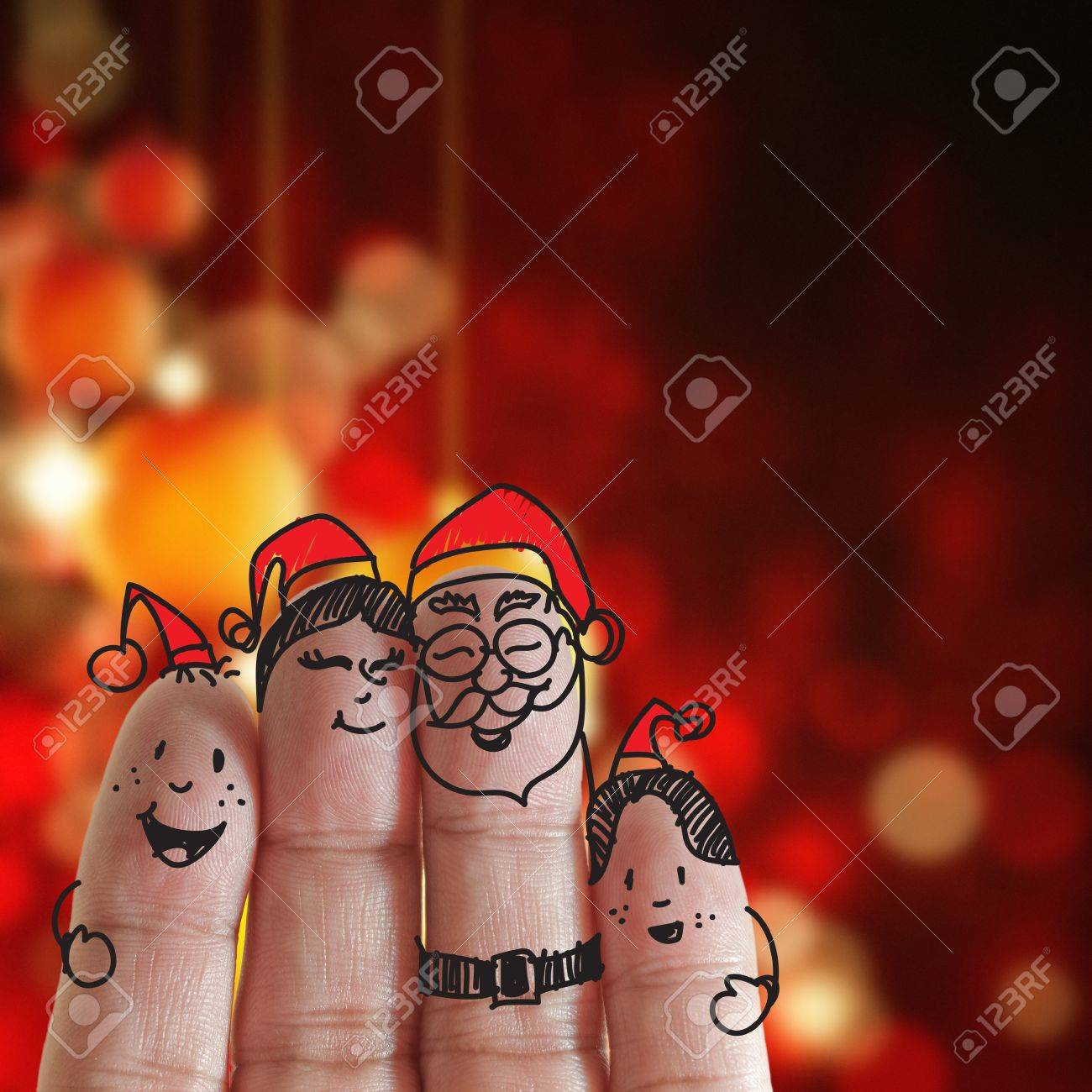 Fingers Family and christmas background Stock Photo - 15069977