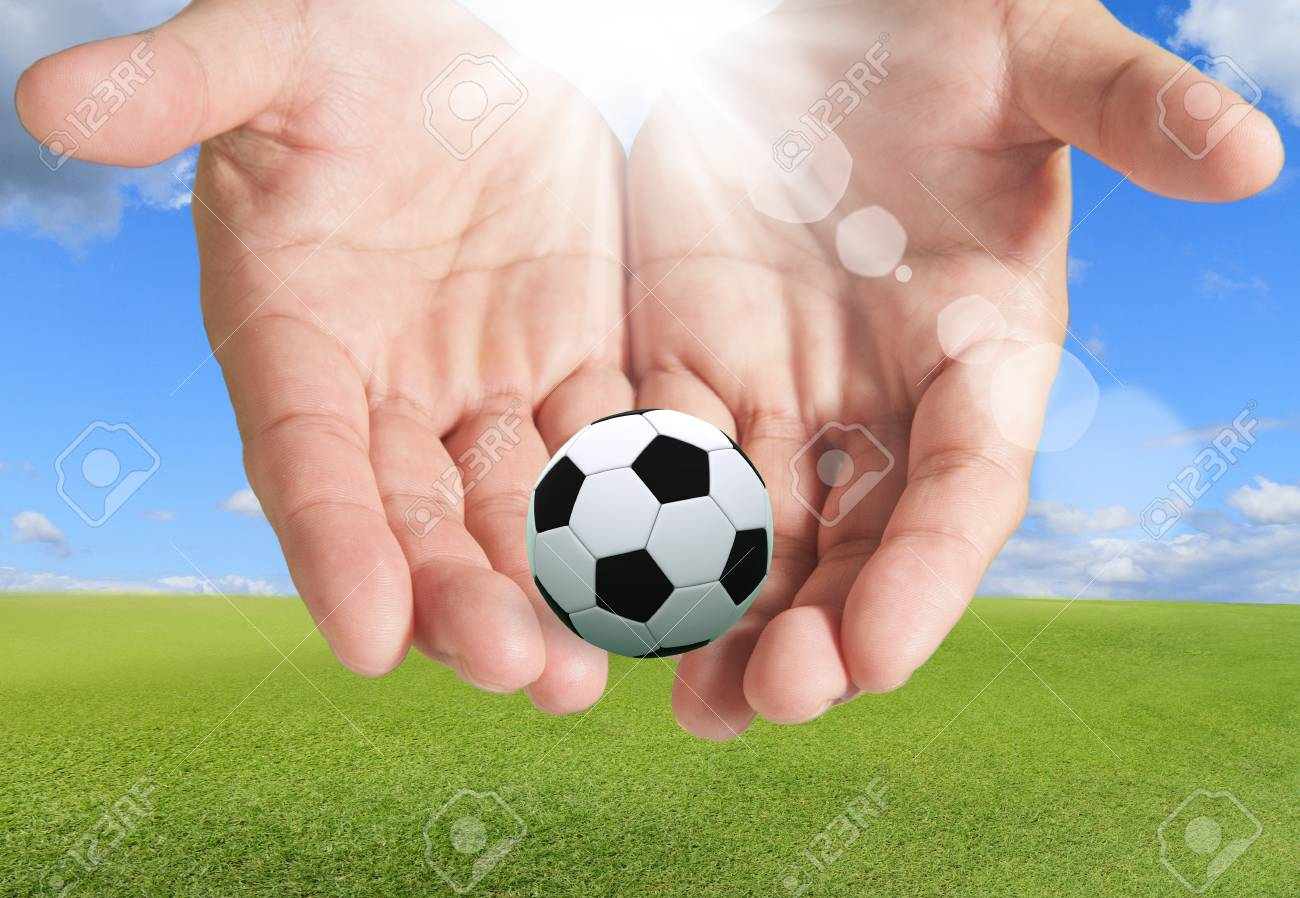 Hands With Soccer Ball sky Stock Photo - 15069992