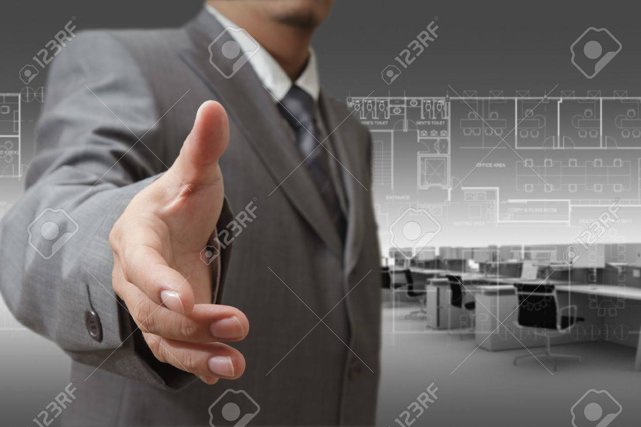 Young stylish businessman touching virtual interface button. Pillar of transparent blue light. Future bio style interior on background. Interfaces collection. Stock Photo - 16058065