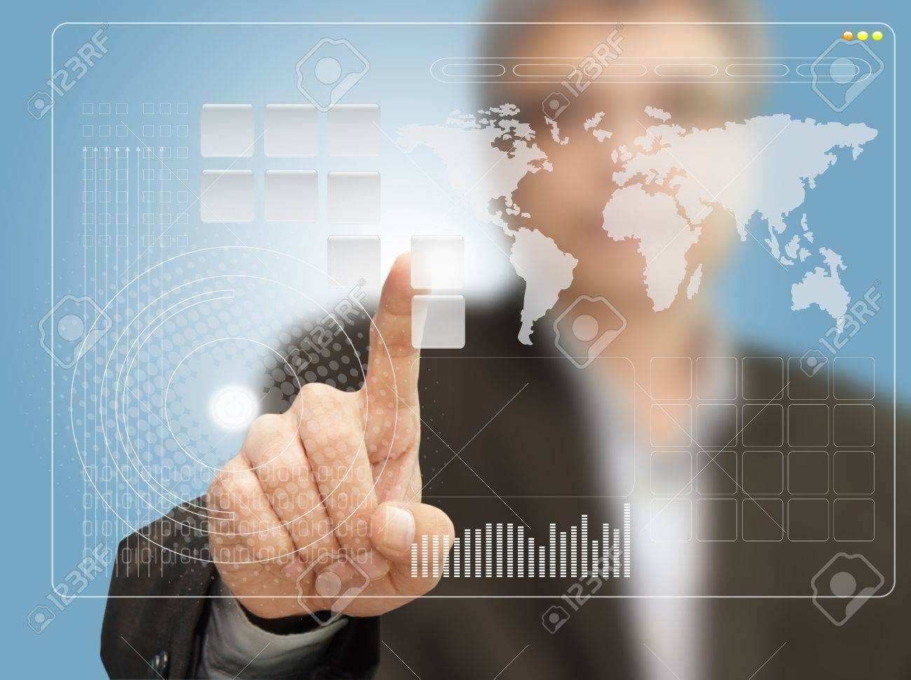 Young stylish businessman touching virtual interface button. Pillar of transparent blue light. Future bio style interior on background. Interfaces collection. - 16120838