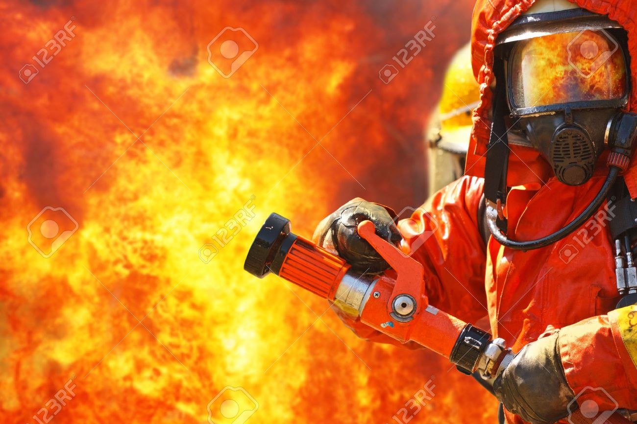 Firefighters fighting fire during training - 16086737
