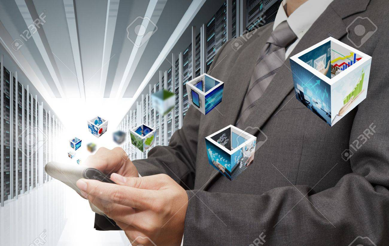 business man hand touch tablet computer streaming images in server room Stock Photo - 16081307