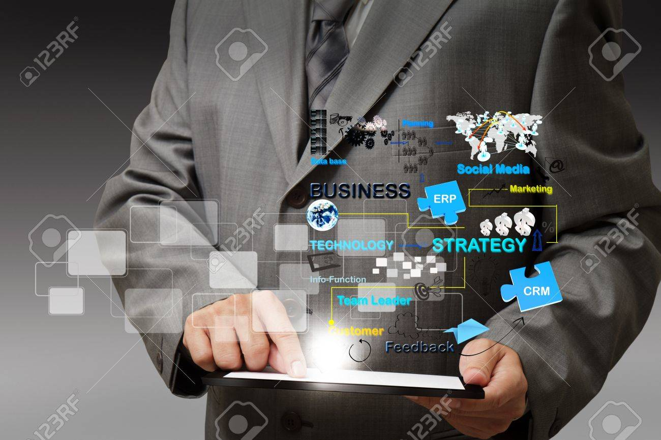 business man hand touch on tablet computer virtual business process diagram - 16097314