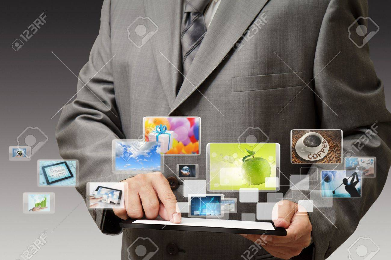 business hand shows touch screen mobile phone with streaming images Stock Photo - 16097288