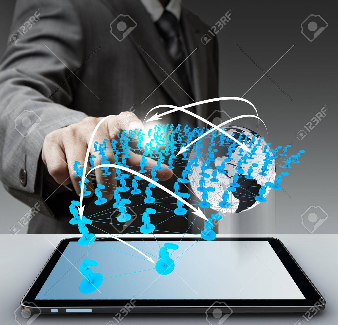 """business man hand touch virtual social network """"Elements of this image furnished by NASA"""" - 16097142"""