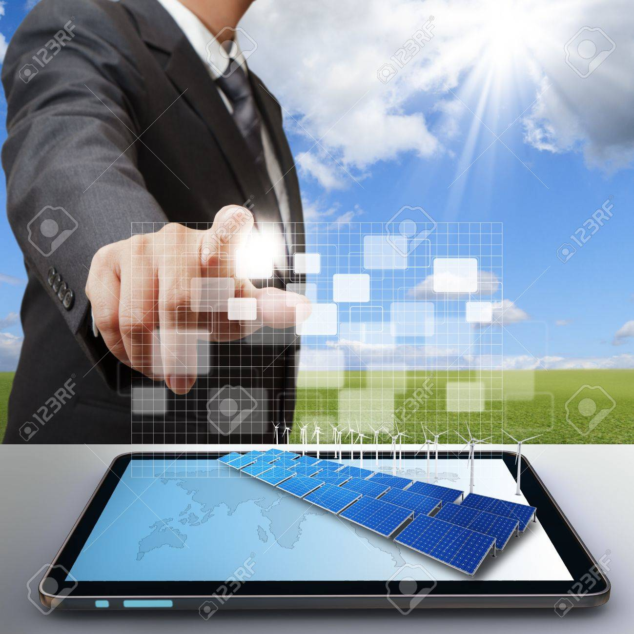 business man work with virtual green business - 16096919