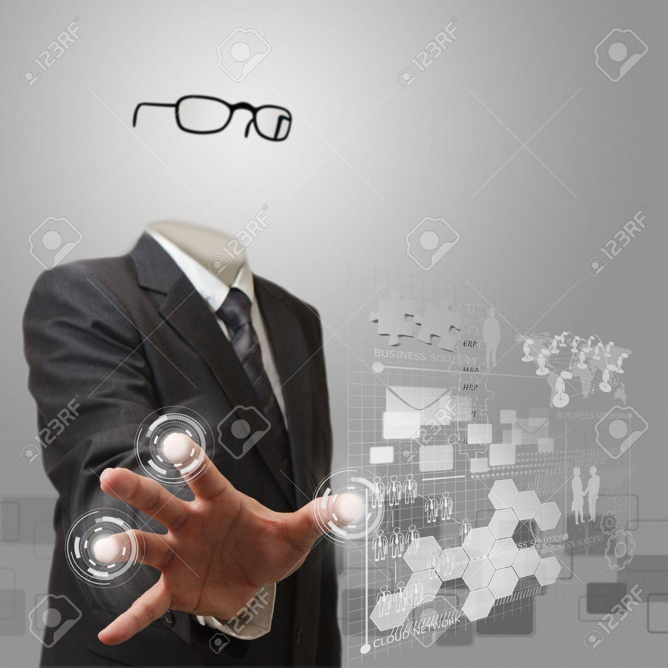 invisible business man working on modern technology - 16097387