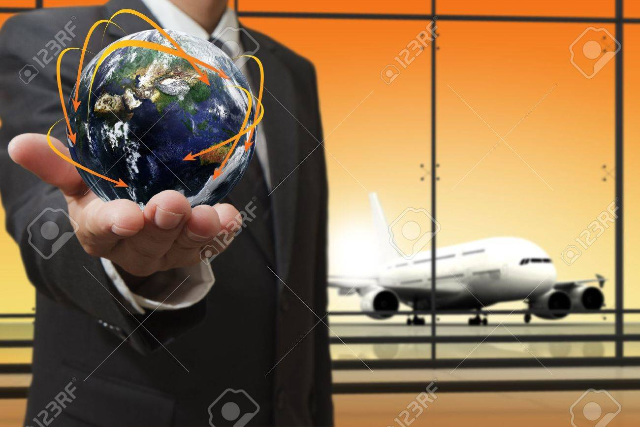 """business man shows social network concept""""Elements of this image furnished by NASA"""" - 16083509"""