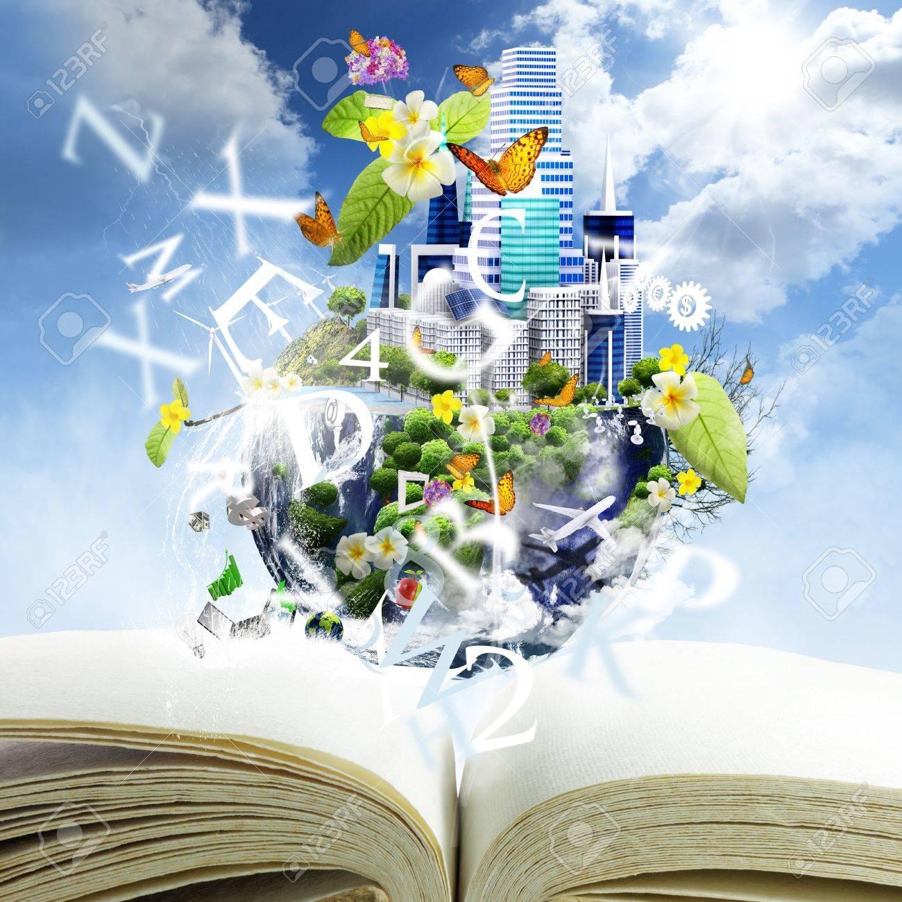 open book with world season concept - 16097607