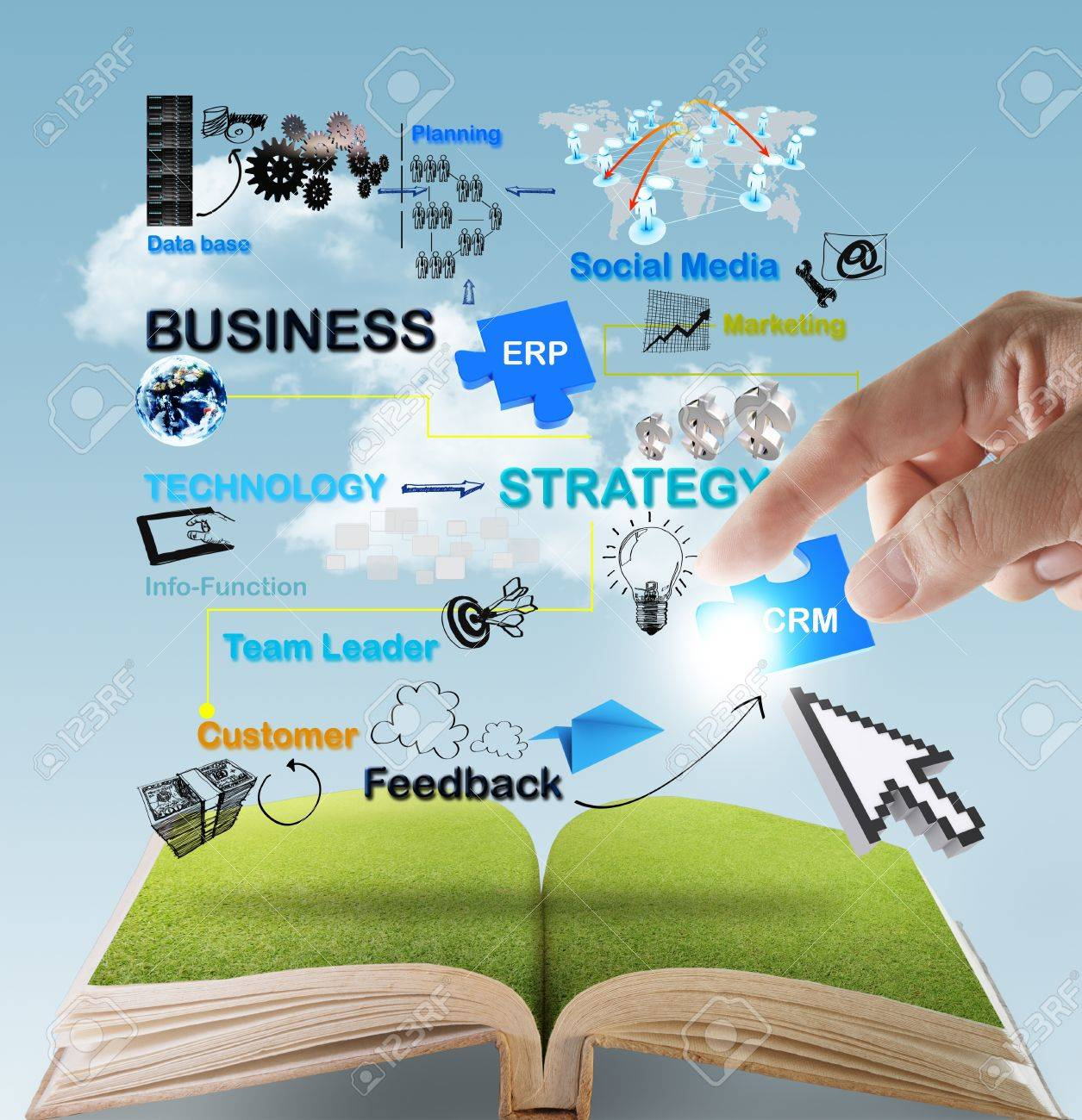 open book of hand point to business network diagram concept - 16097138