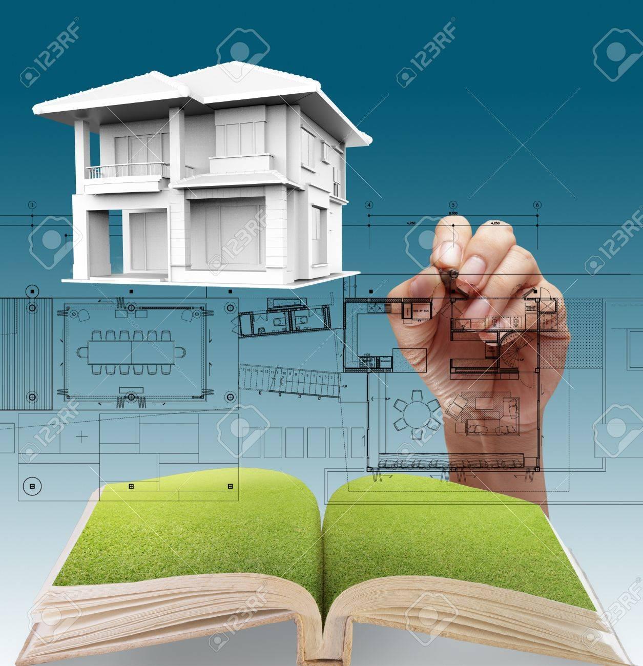 House plan blueprints, designer's hand - 16097326