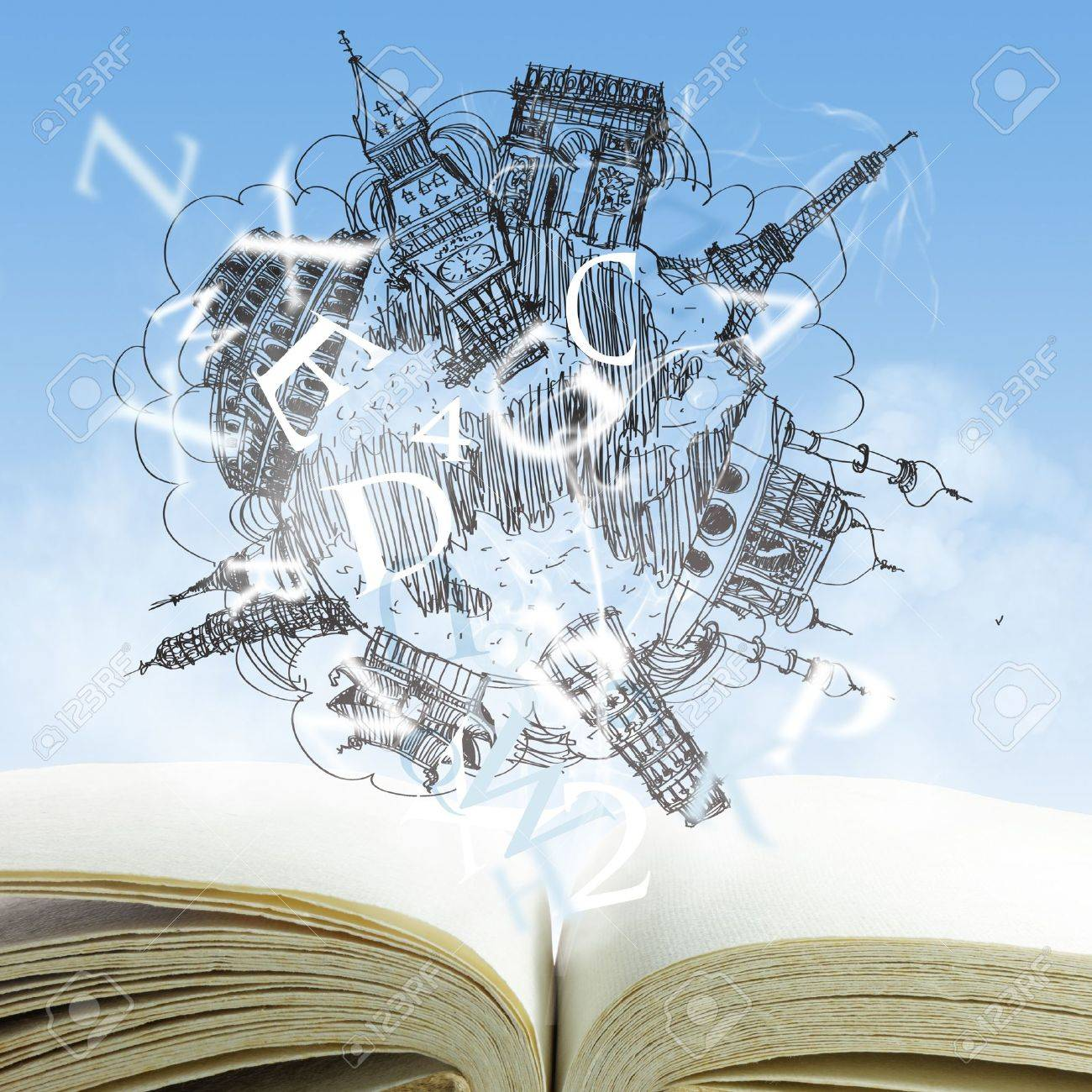 open book and drawing dream travel - 16097365