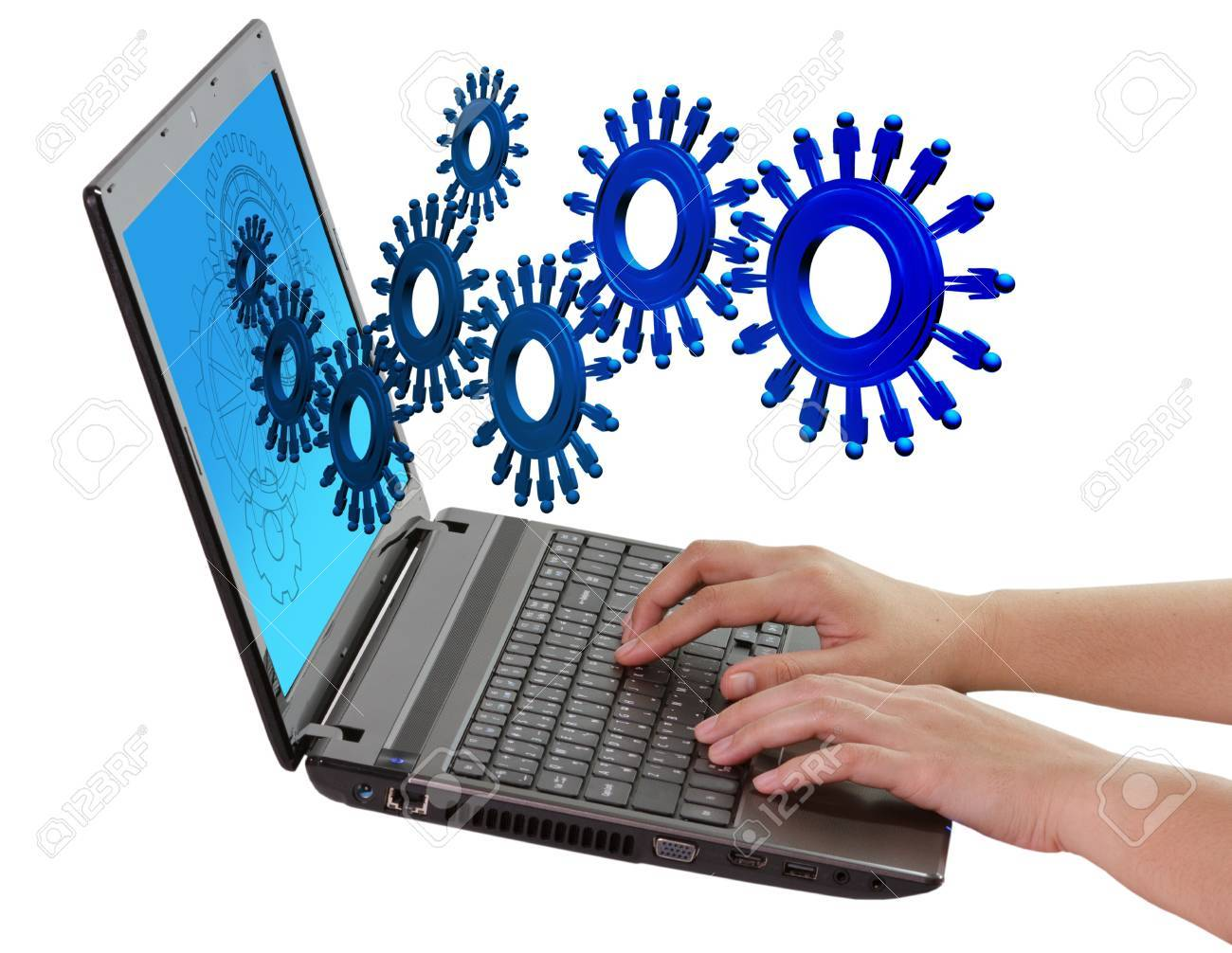 people cogs and gear background Stock Photo - 16083103