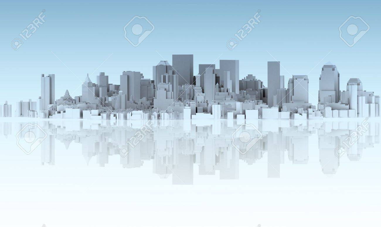 abstract city isolated on mirror floor stock photo picture and
