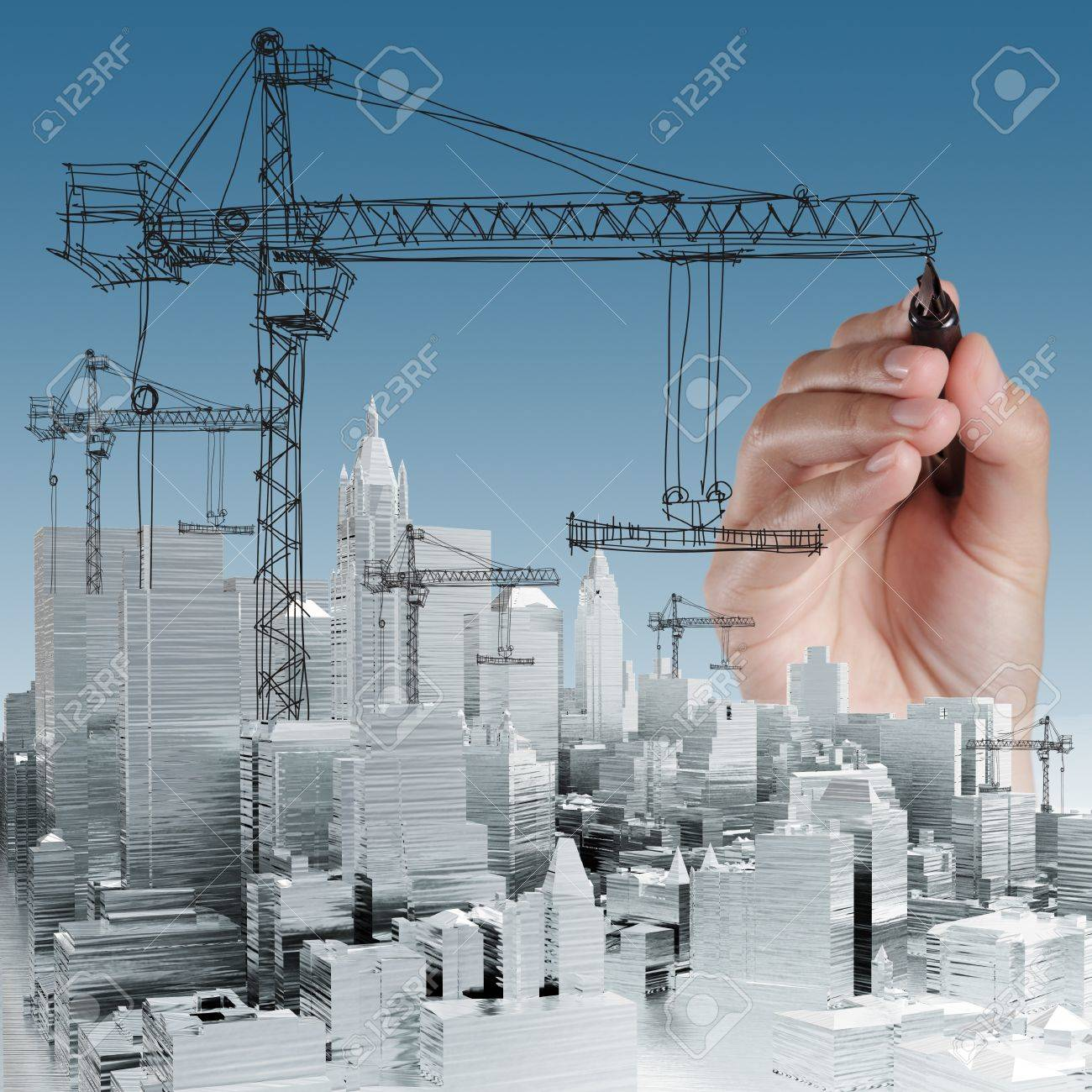 hand drawn building development concept - 16097677