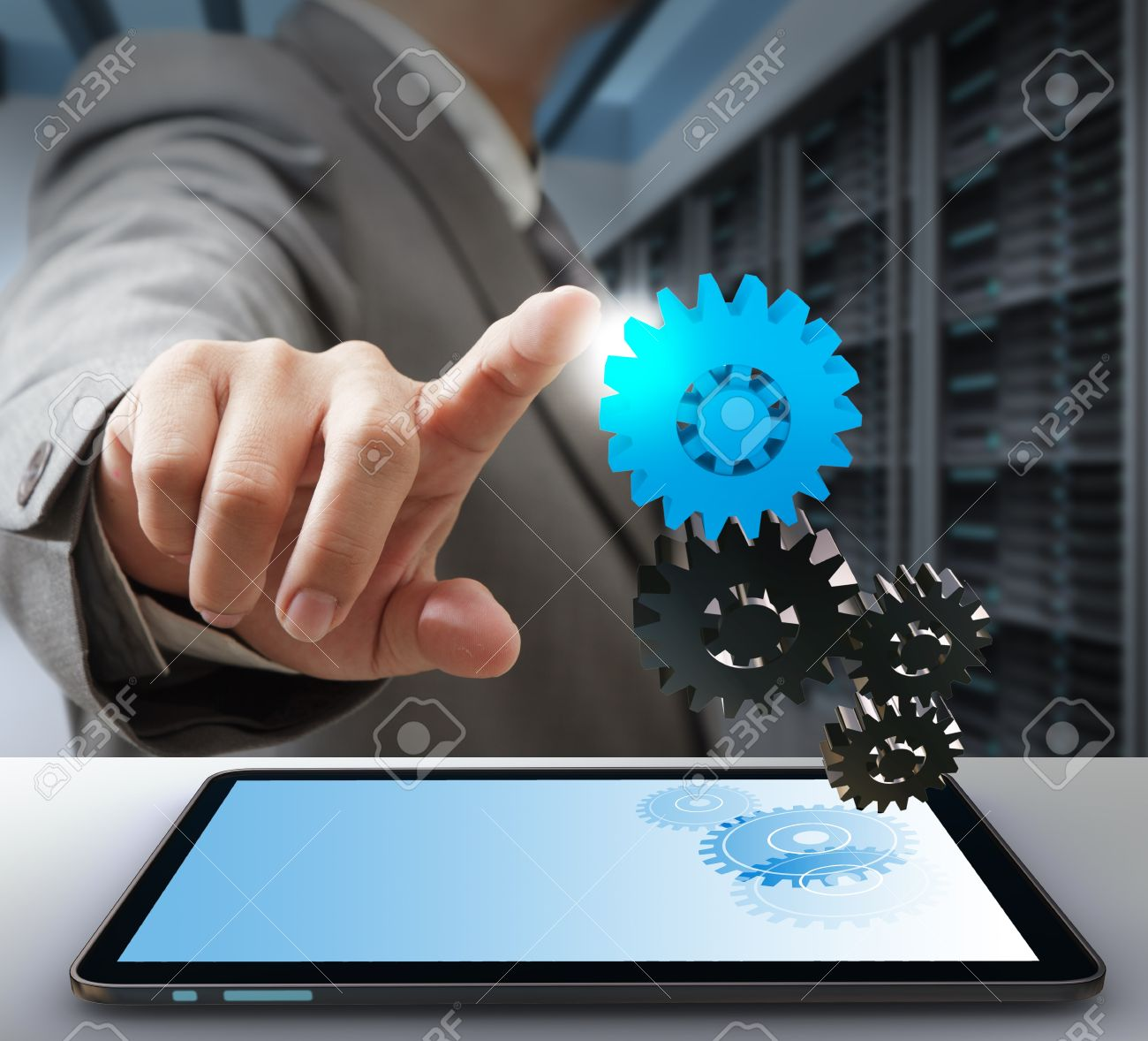 business man touch on gear as computer solution concept - 16096449
