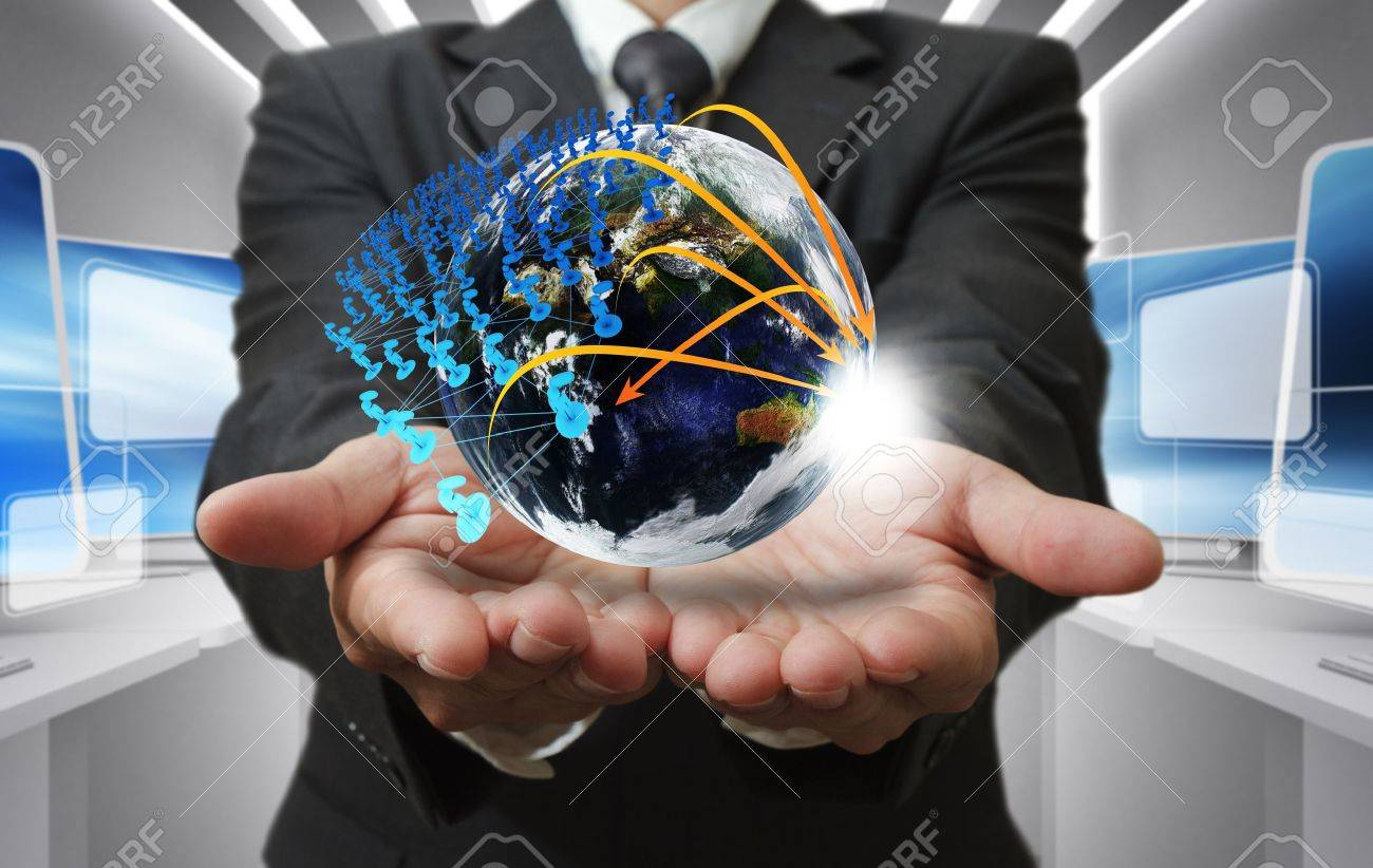 Business man hand holds globe and social network - 16096460