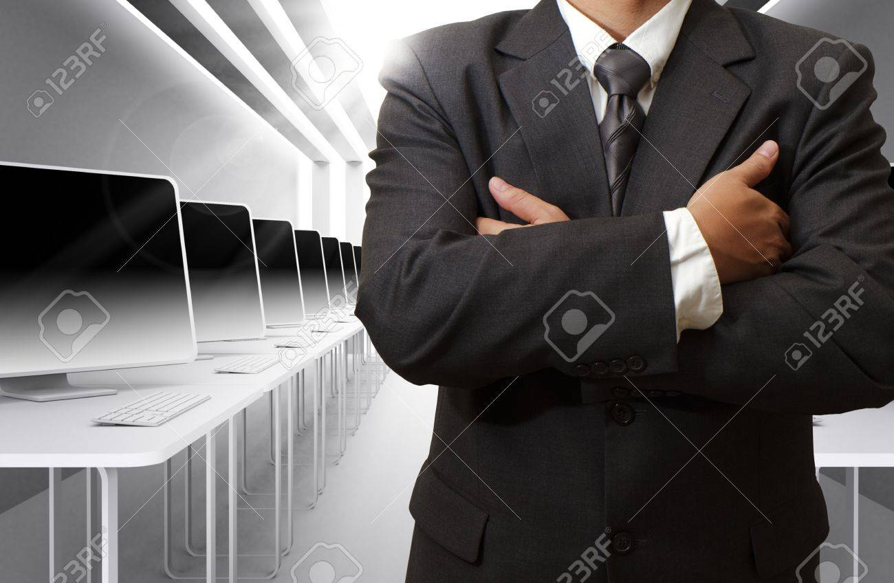 business man,teacher and computer class room - 16096612