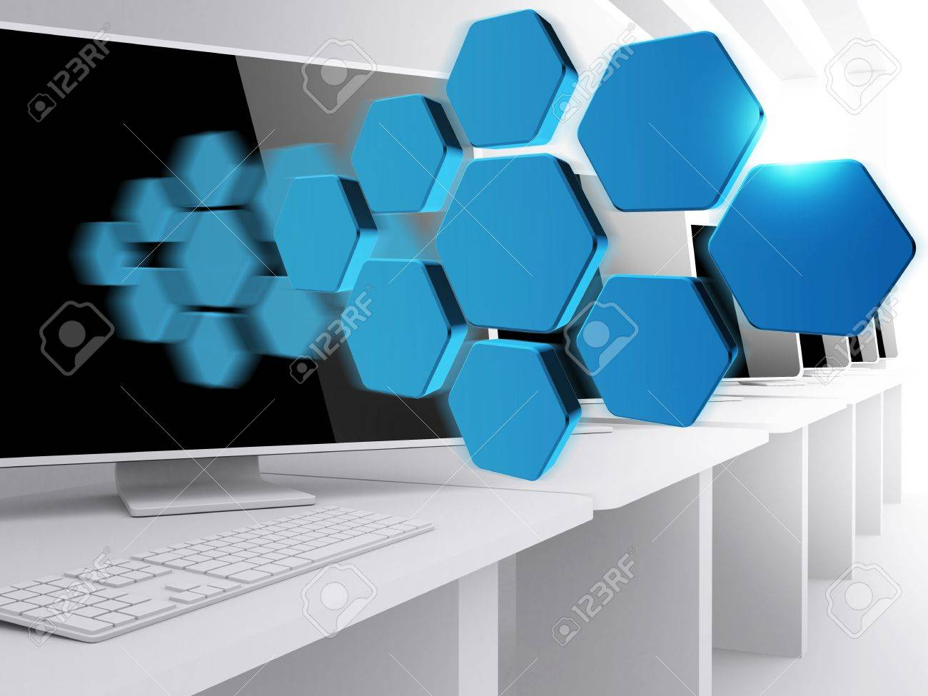 16081993 blank abstract diagram and computer room blank abstract diagram and computer room stock photo, picture and