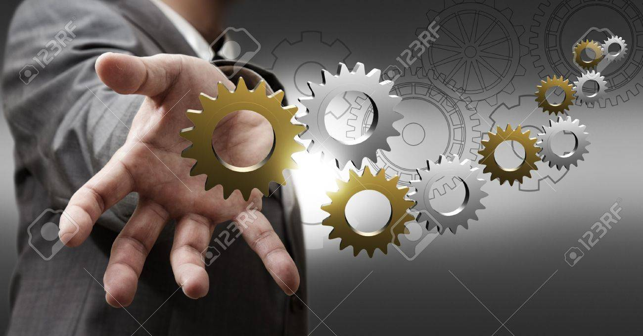 business man hand shows 3d metallic cogs and gears as concept - 16096381
