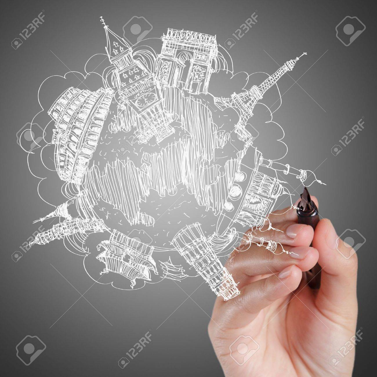 businessman drawing the dream travel around the world - 16096506
