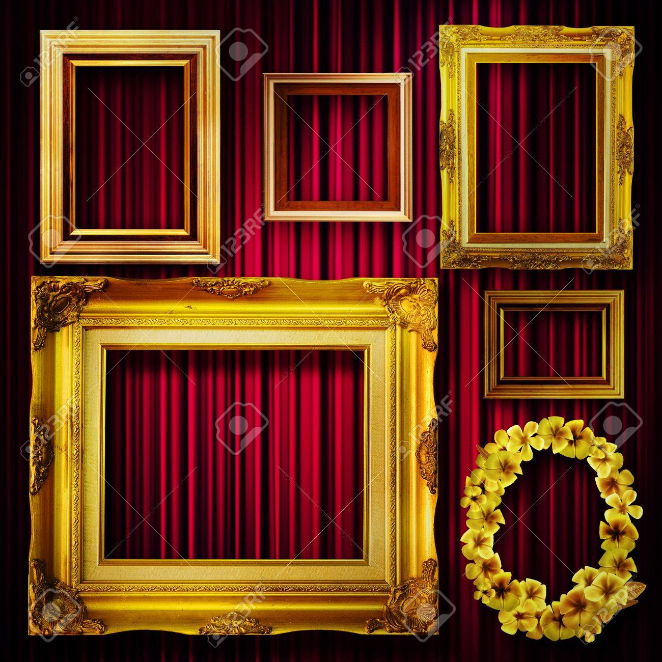 Gallery Display Vintage Gold Frames On Deep Red Curtain Wall Stock