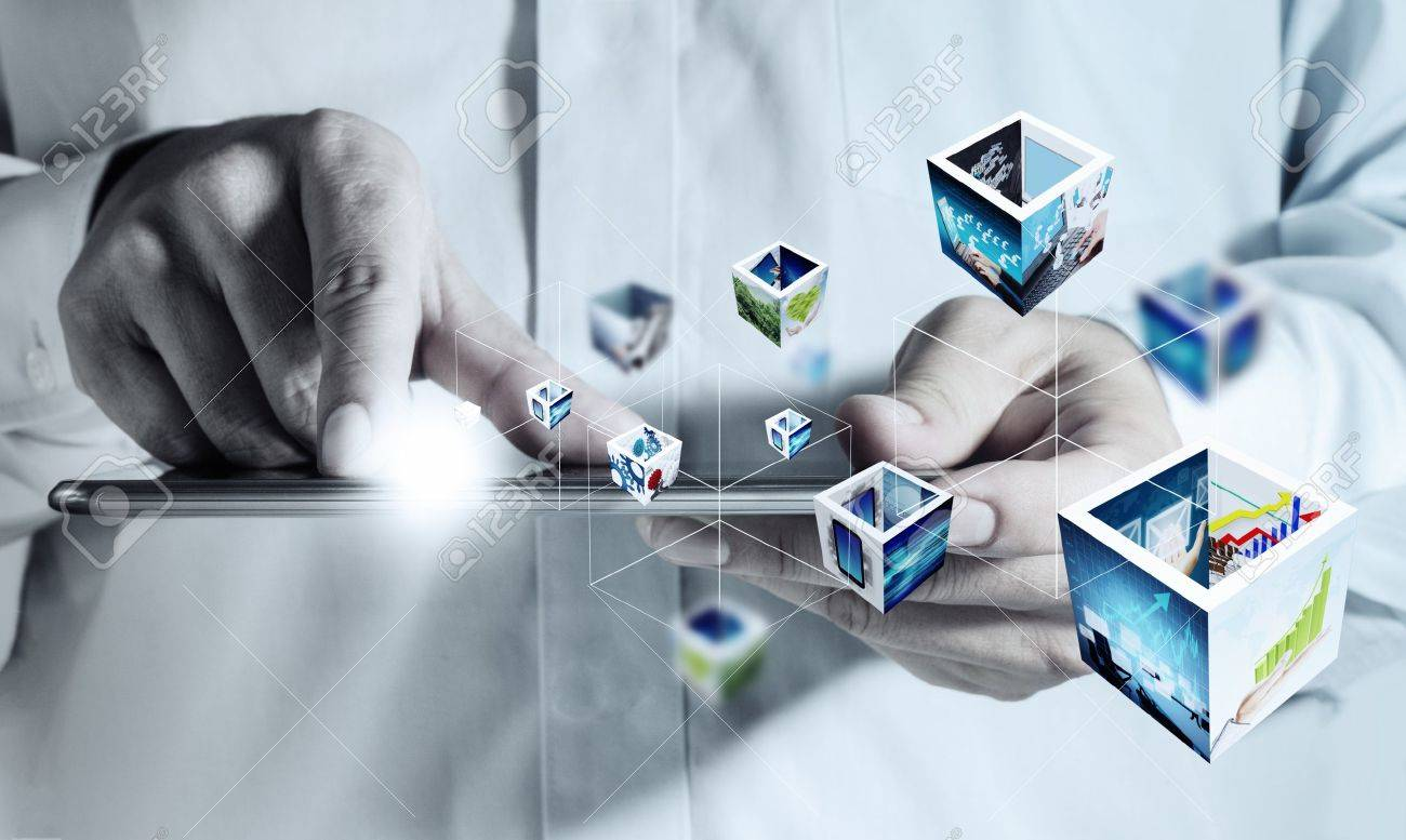 business hand holding a touch pad computer and 3d streaming images - 16096368