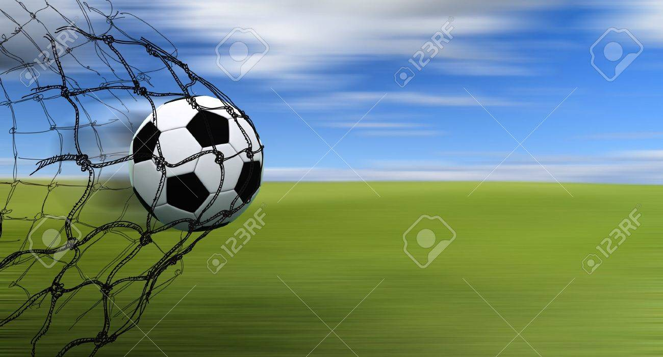 soccer ball in a net with hand drawn sketch on blur background - 16083521