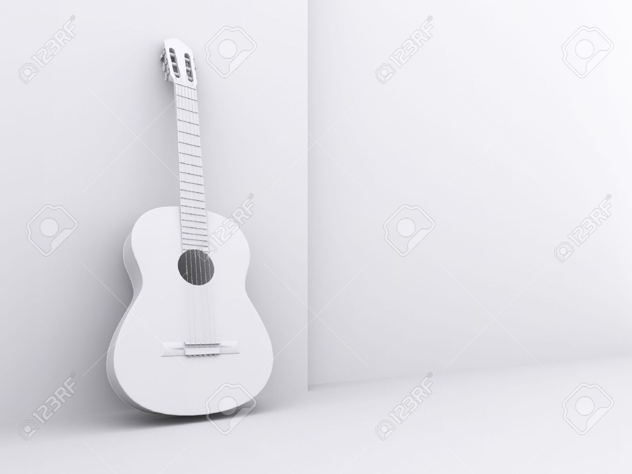 The image of a white guitar under the white background - 16421176