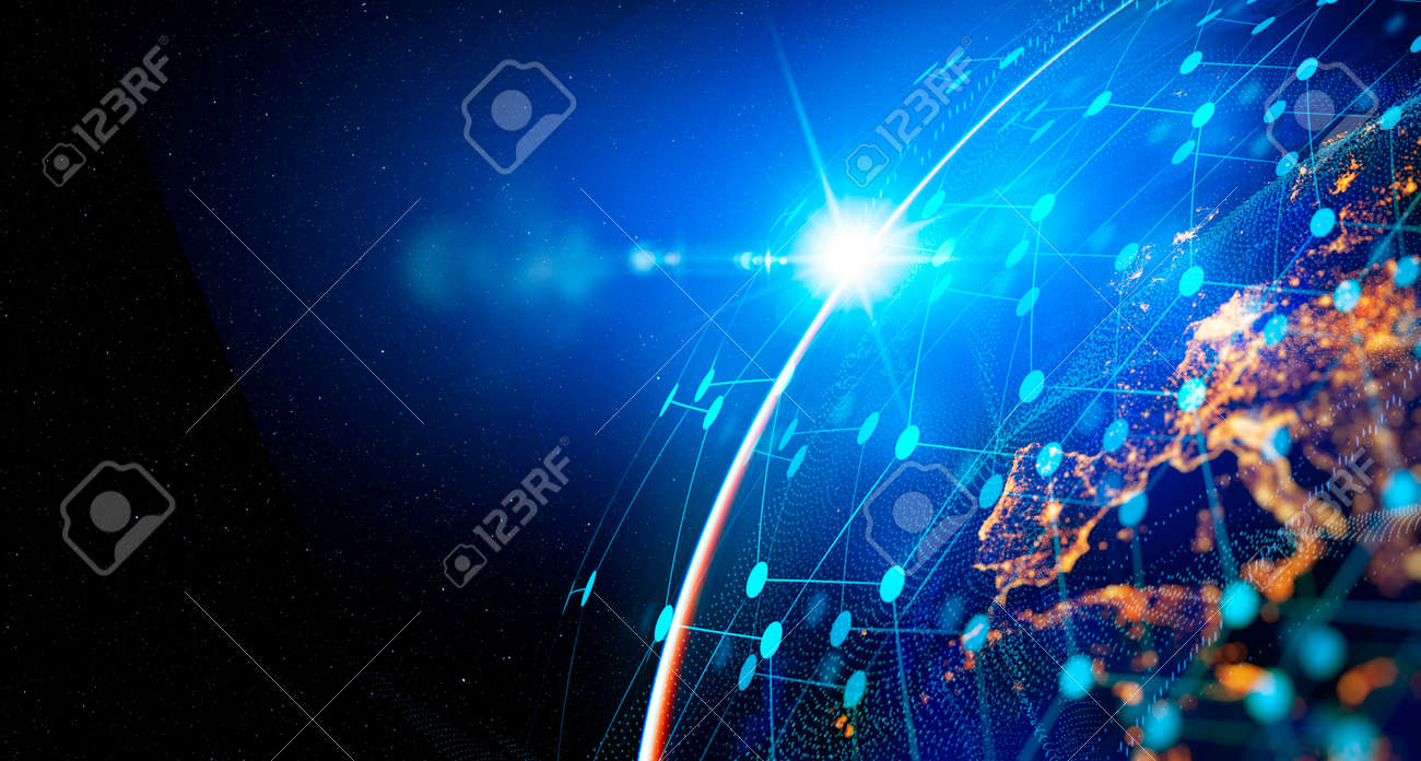 Communication technology for internet business. Global world network and telecommunication on earth cryptocurrency and blockchain and IoT. Elements of this image furnished by NASA - 166072258