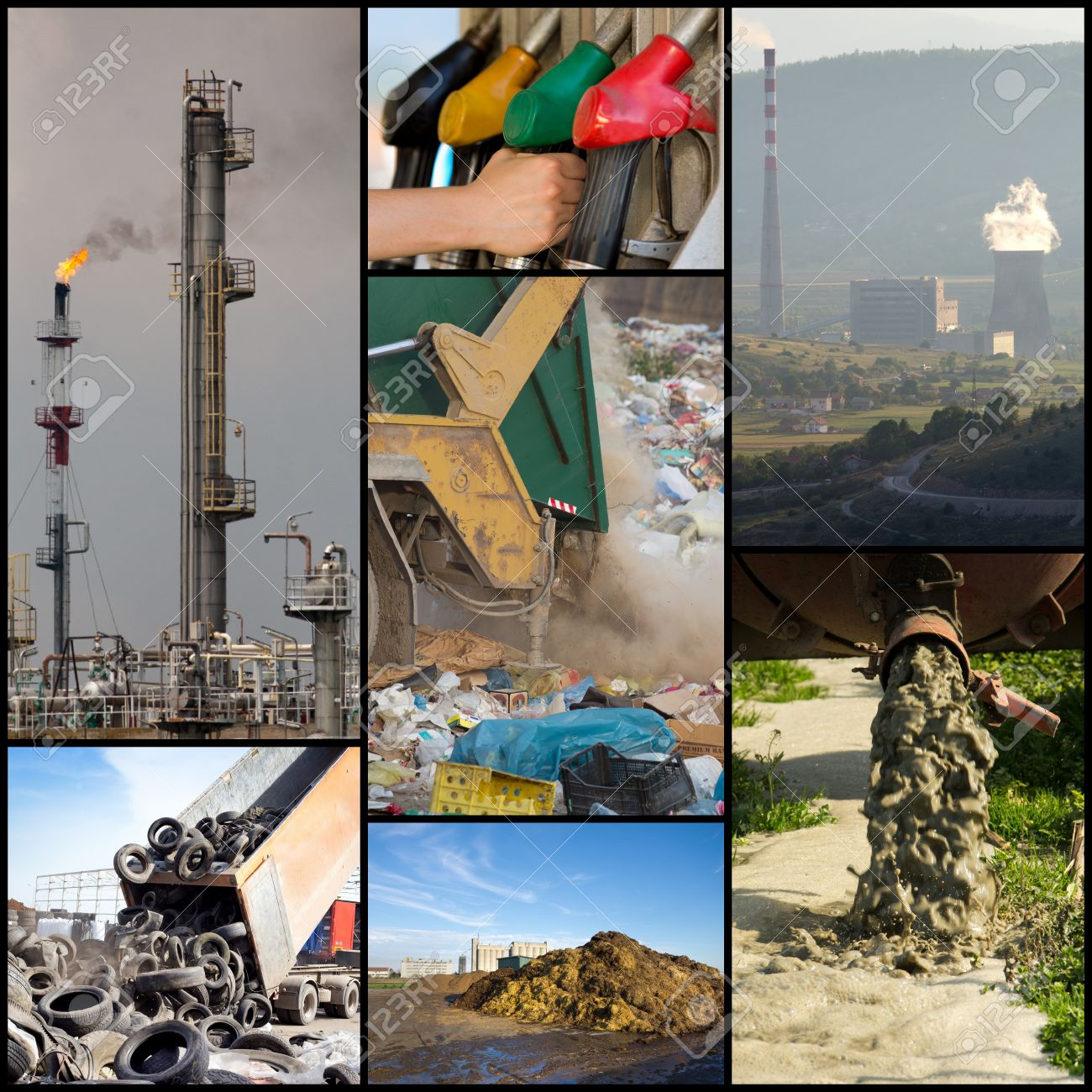 collage of different ways of polluting environment stock photo