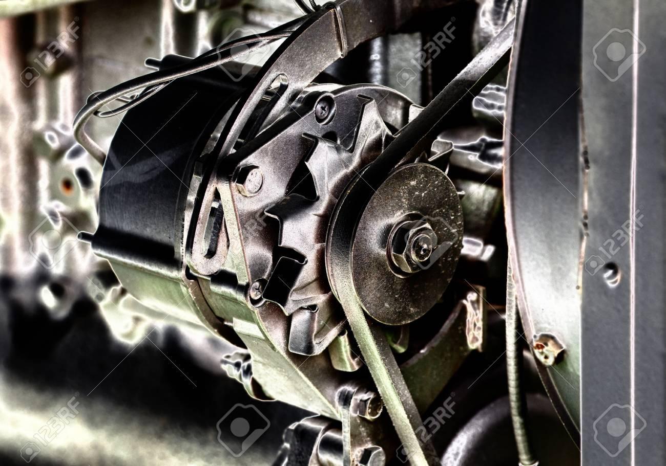 Close Up Von Transmissionsriemen Auf Auto-Motor, Künstlerische Bild ...
