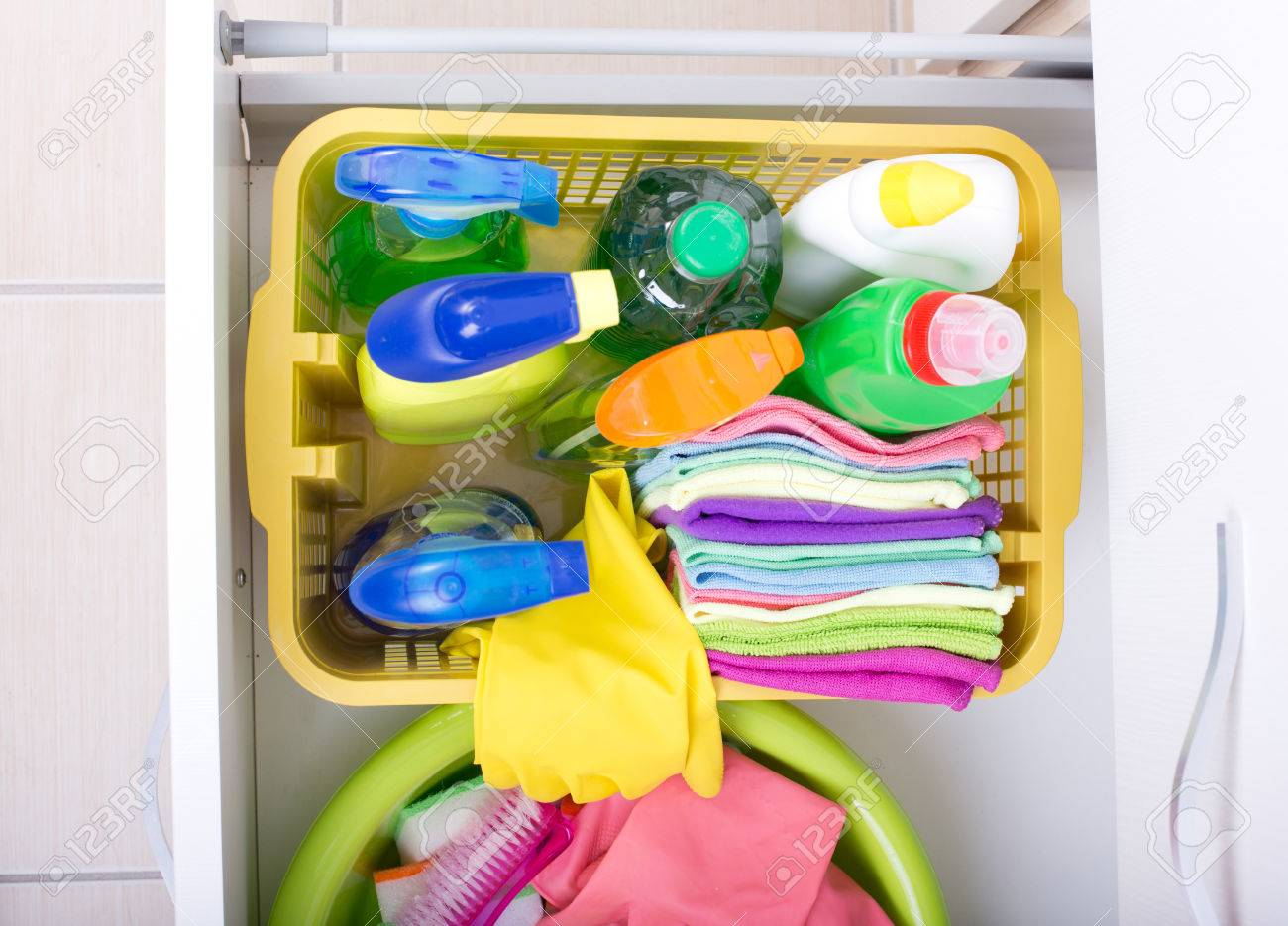 Top View Of Cleaning Supplies And Equipment Stored In Drawer