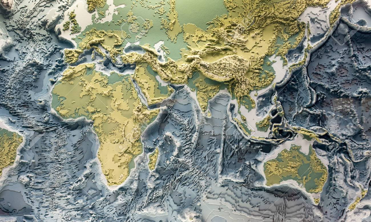 3D printed model of earth relief with topographic heights of mountains and depth of oceans - 81516151