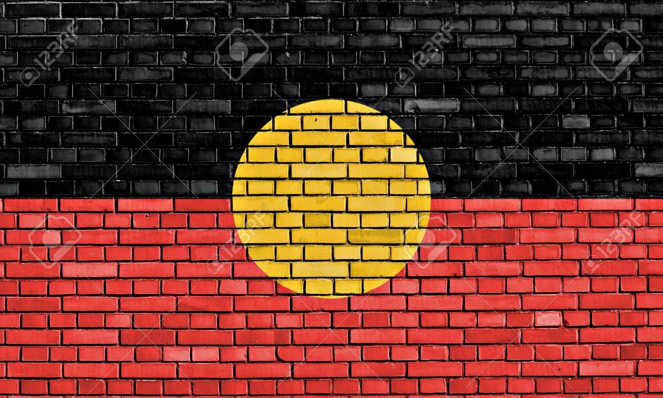 Flag Of Australian Aboriginal Painted On Brick Wall Stock Photo ...