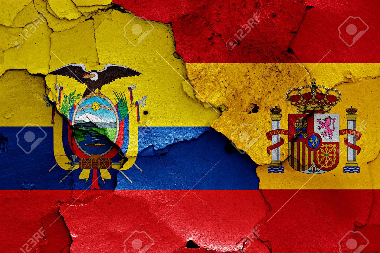 Flags Of Ecuador And Spain Painted On Cracked Wall Stock Photo - Ecuador flags