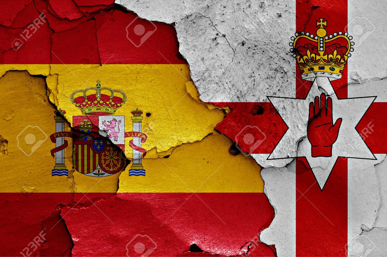 Flags Of Spain And Northern Ireland Painted On Cracked Wall Stock ...