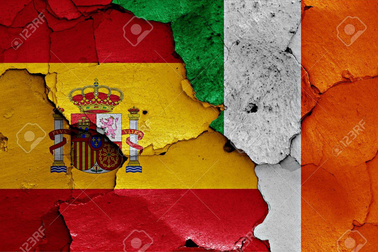 Flags Of Spain And Ireland Painted On Cracked Wall Stock Photo ...