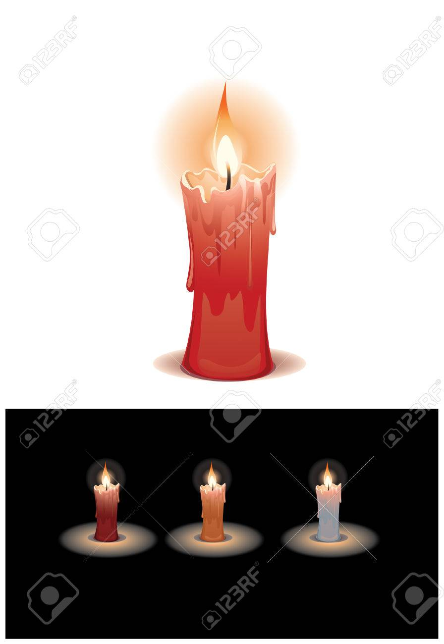 Lighting Candle, 3 color variation  Red, Gold, White Stock Vector - 2747555