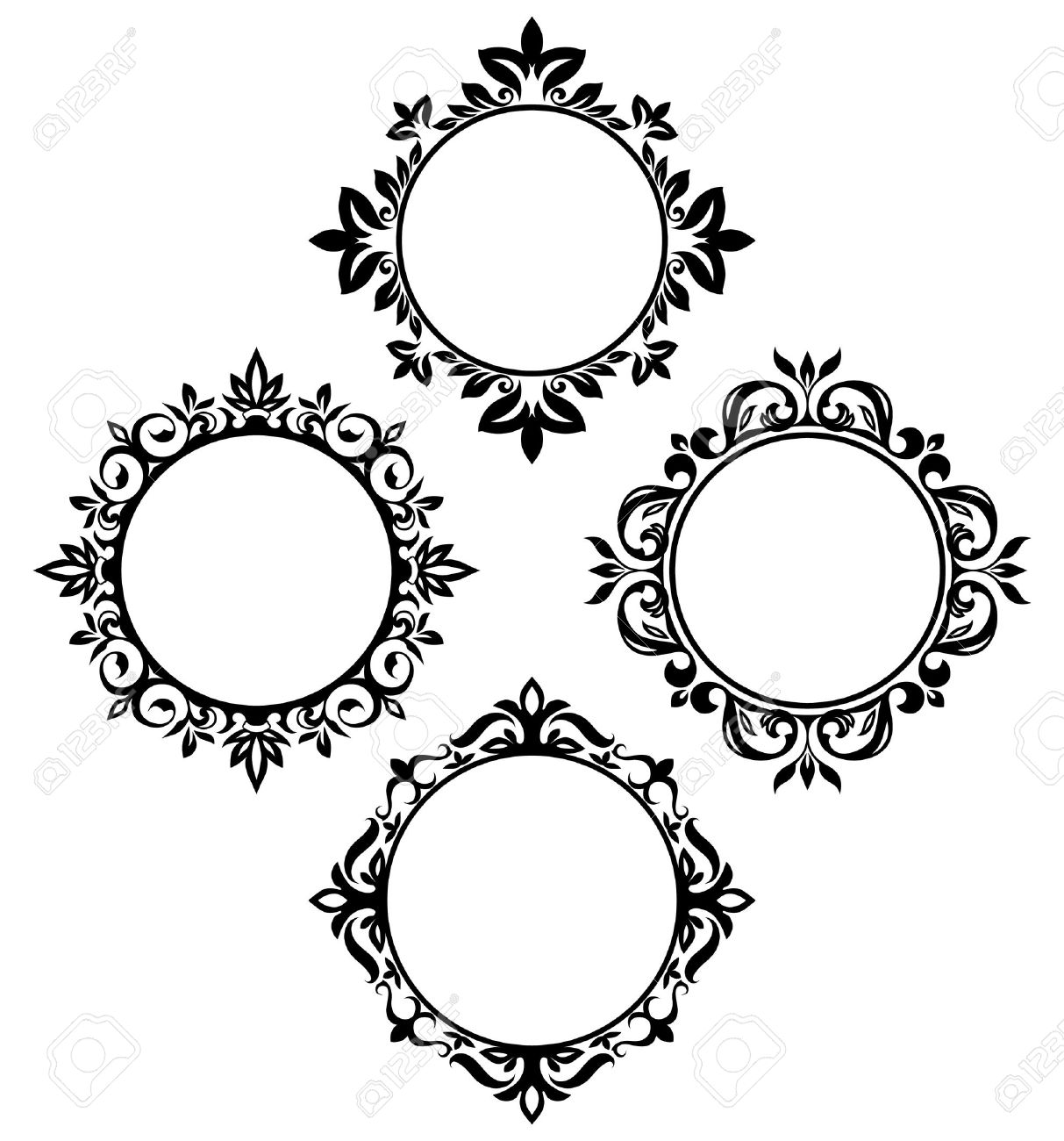 Set Of Vintage Circle Frames Royalty Free Cliparts, Vectors, And ...