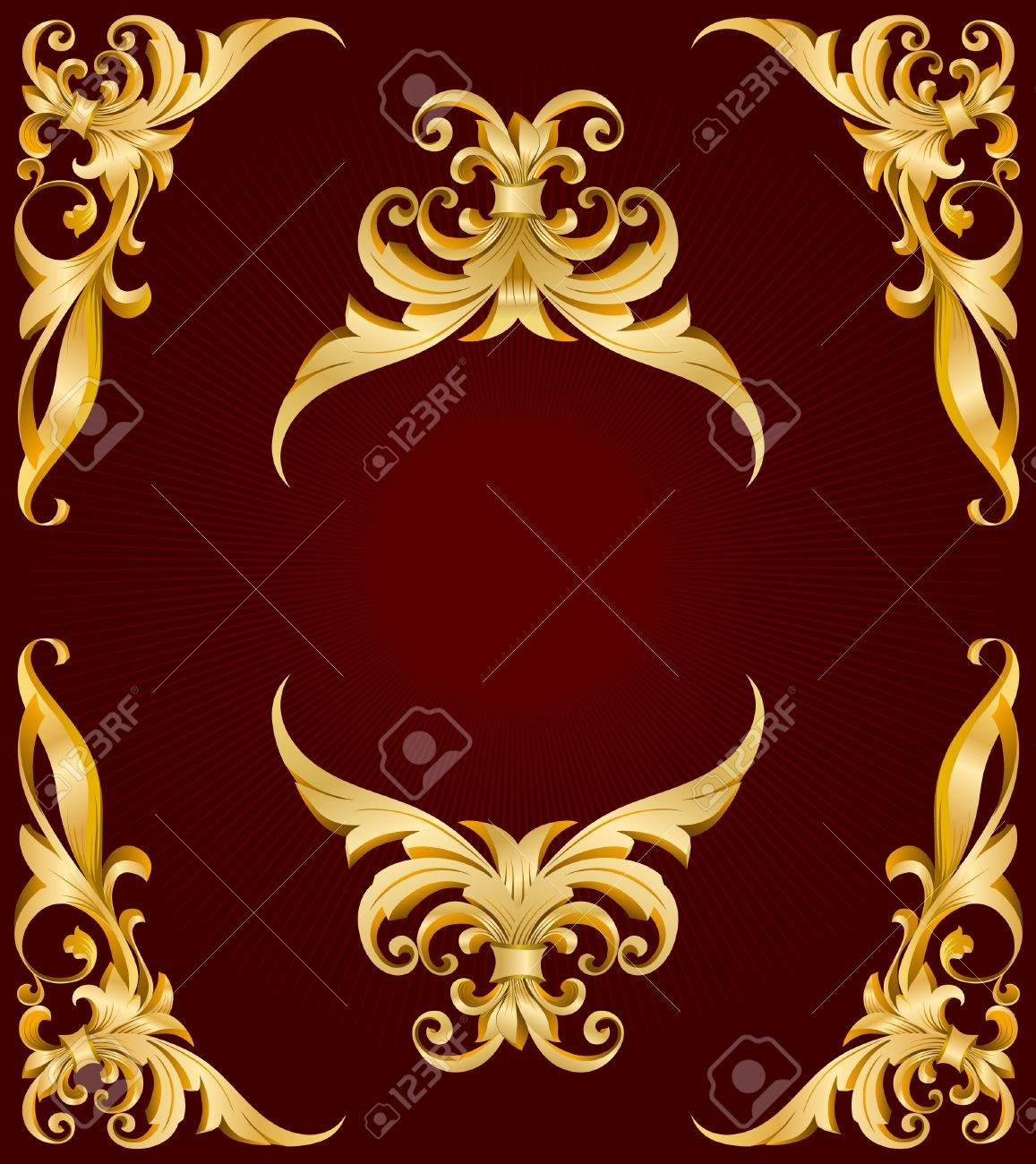 golden frame on red back with lights Stock Vector - 9807713