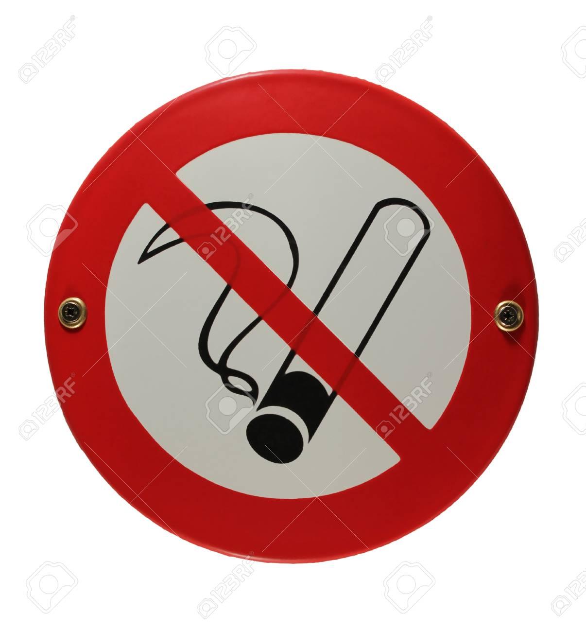 Round enamel sign no smoking Stock Photo - 16952951