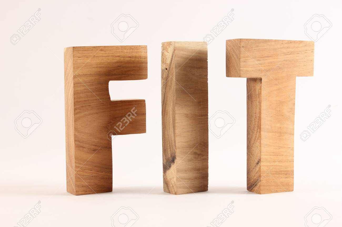 FIT text from wood letters Buchstaben white Background Stock Photo - 17141078