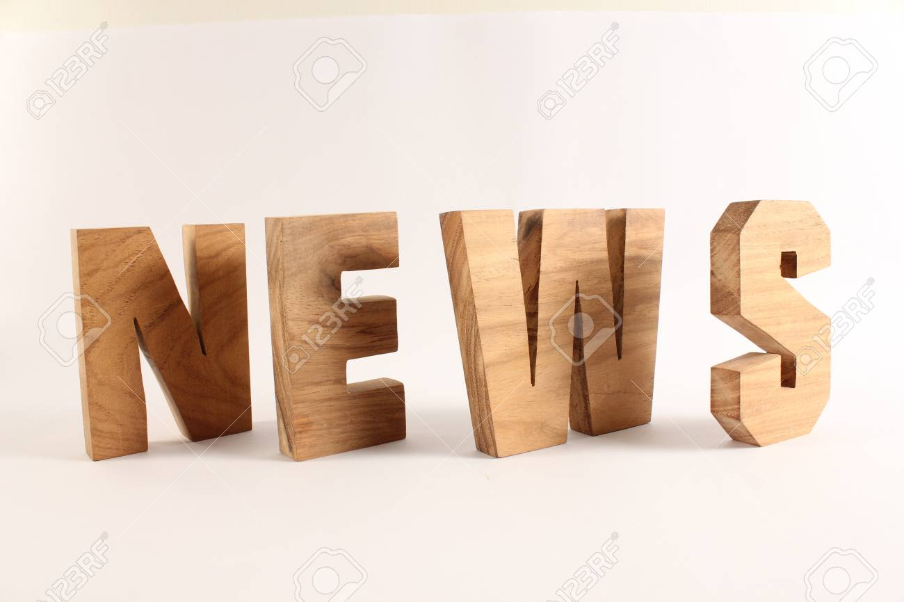 NEWS text from wood letters Buchstaben white Background Stock Photo - 17141075