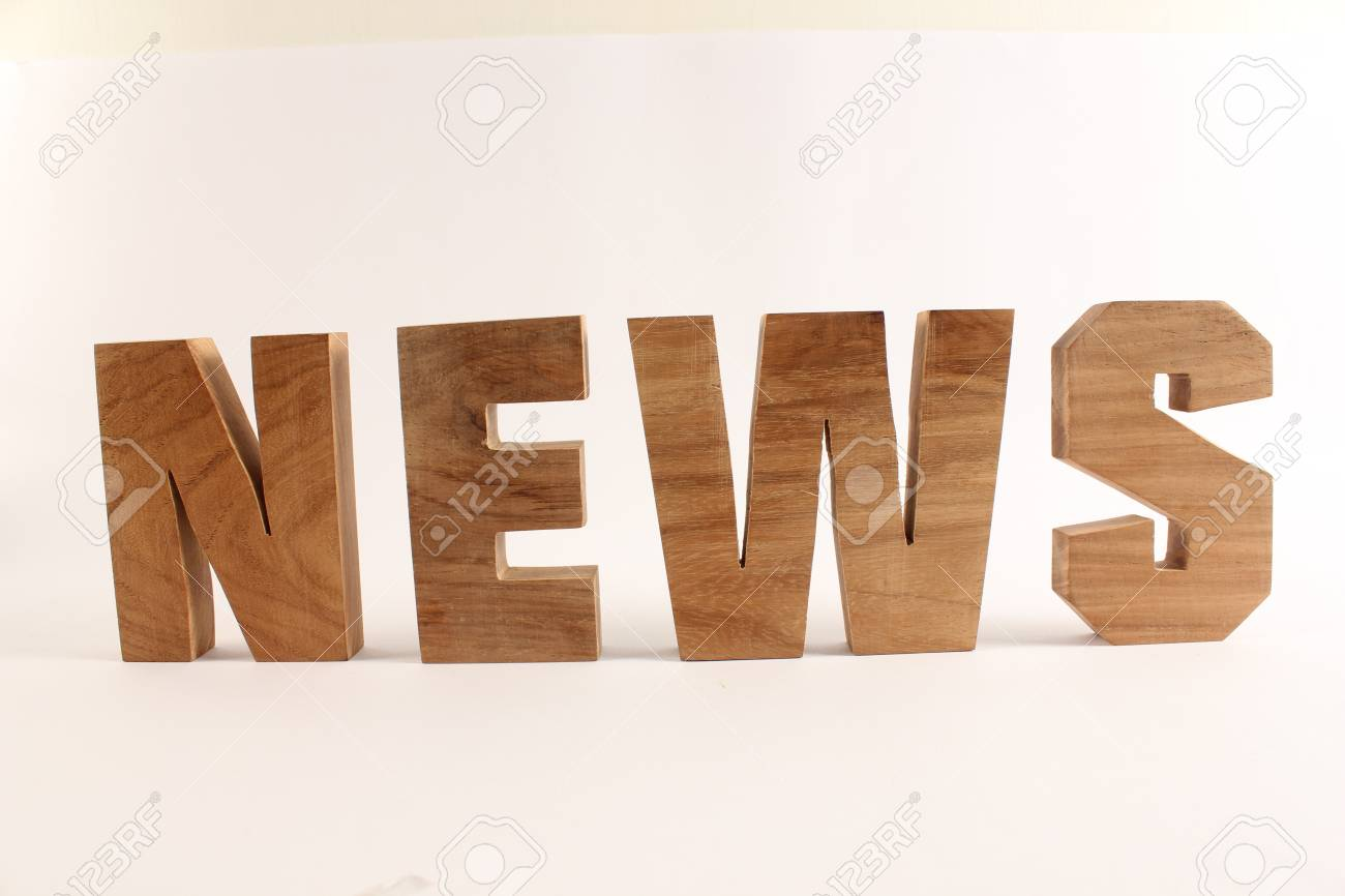 NEWS text from wood letters Buchstaben straight Stock Photo - 17138605