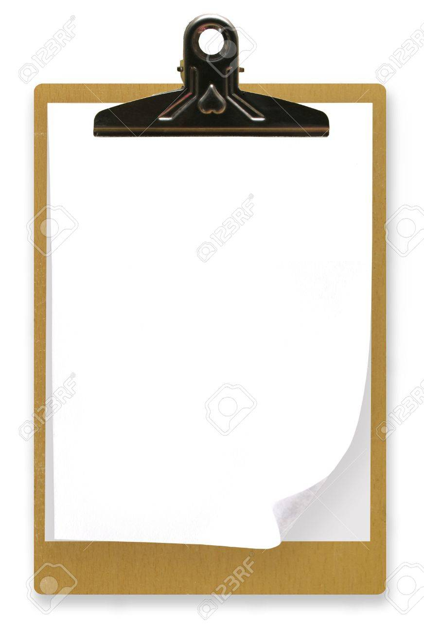 Clipboard with white paper. Stock Photo - 4809822