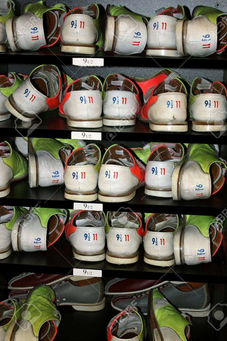 Rows Of Size Nine And A Half Bowling Shoes On Layered Shelves ...